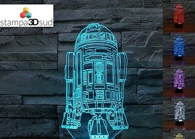 Lampada Rgb Led Illusione Ottica 3D R2-D2 Night Lamp Star Wars