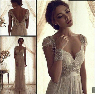 New White/ Ivory Wedding Dress Vintage Lace Bridal Gown Size 6-8-10-12-14-16