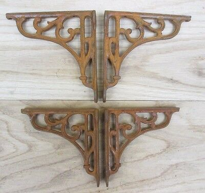 Pair of VINTAGE CLASSIC OLD VICTORIAN SCROLL SHELF BRACKETS BRACKET CAST IRON