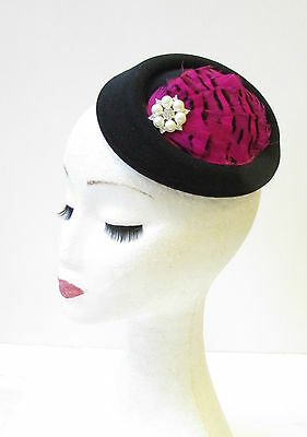 Hot Pink Black Ivory Feather Pillbox Hat Fascinator Races Vtg Hair 1940s 1311
