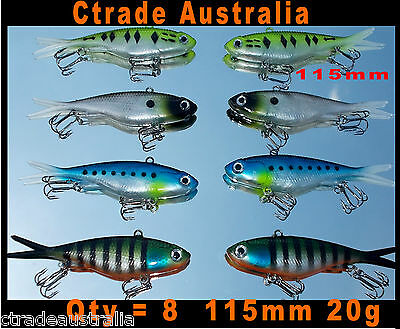 8x Mullet Transam Lures Soft Vibe 115mm 25g Fishing Lure Snapper Barra Reef Fish