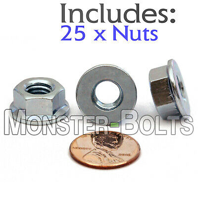M8-1.25 / 8mm - Qty 25 - Class 8 Metric HEX FLANGE NUT DIN 6923 Zinc CR+3