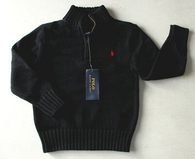 NWT Ralph Lauren Toddler Boys Half Zip Polo Black Sweater Red Pony Logo 2T 3T 4T
