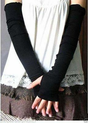Fingerless Gloves Mittens Long Winter Arm Hand Warmer Knitted FREE FAST POST