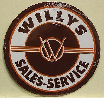 "WILLYS 12"" metal sign willy's sales and service logo original jeep 4x4  rd-29"
