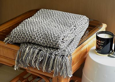 Grey Woven Throw Sofa Bed Rug Blanket Gift Wrapped 127CM x 152CM - Express Post