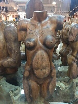 "NEW 18"" Solid Suar Wood Woman Torso Carving Indonesia Hand Carved"