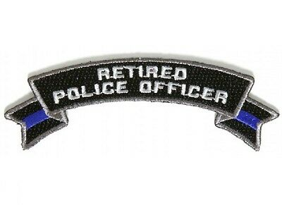 "(C11) RETIRED POLICE OFFICER 4"" x 1.5"" iron on Rocker patch (5488) Blue Line"