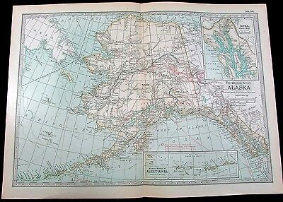Alaska showing Gold discoveries overprinted 1897 detailed antique map