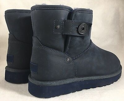 Ugg Australia Mens Leather Deco Mini Navy Blue size 9 Side Snap button Sheepskin