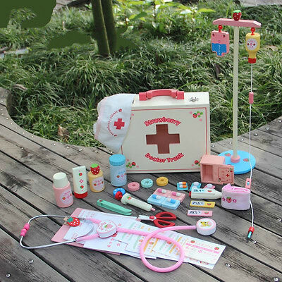 Toys Doctor /Nurse kits/ Set Cosplay  Wooden Medicine Cabinet Pretend Role Play