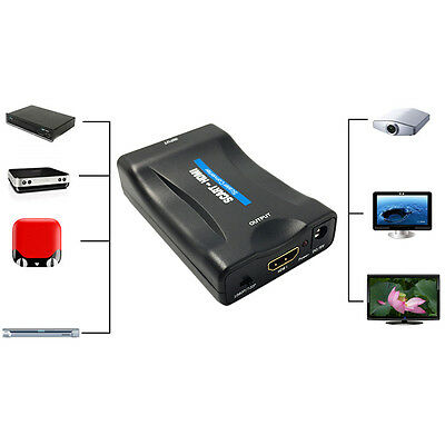 1080P SCART To HDMI Video Audio Converter Adapter for HD TV DVD for Sky Box WL