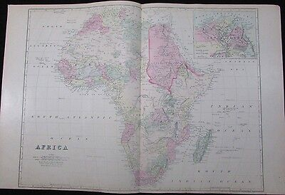Africa large detailed 1881 Mitchell folio antique map hand color