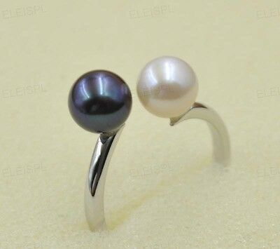 AAA High quality round white/black real pearl ring 925 silver free P&P
