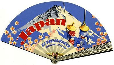 SCANDINAVIAN AIRLINE to JAPAN - Gorgeous Old FAN Shaped Luggage Label, c. 1955