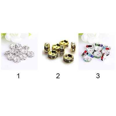 100PCS Crystal Rhinestone Silver Gold Plated Rondelle Spacer Beads 8mm HOT XV