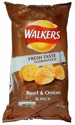 Walkers Beef & Onion, 6 x 25g Pack