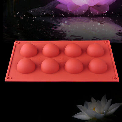 8 Half Ball Round Cake Mold Cookie Mould Flexible Silicone Soap Mold Baking Tool