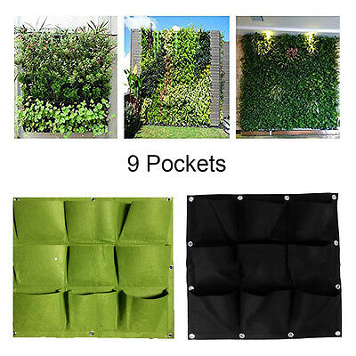 Green Ecology Garden Planting Bag Home Vertical Wall Hanging Flower 9 Pockets