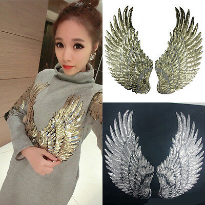 1Pair Sequins Angel Wings Patch Iron on Sewing Applique Mirror Cloth Embroidery