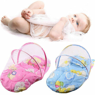 Foldable New Baby Cotton Padded Mattress Pillow Bed Mosquito Net Tent BE