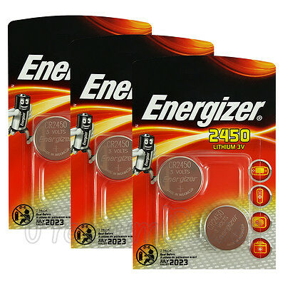 6 x Energizer Lithium CR2450 batteries 3V Coin cell DL2450 ERC2450 Pack of 2