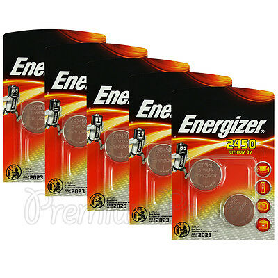 10 x Energizer Lithium CR2450 batteries 3V Coin cell DL2450 ERC2450 Pack of 2