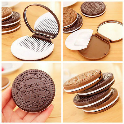 Portable Cute Chocolate Cookie Shaped Cosmetic Makeup Mirror + Comb Ladies