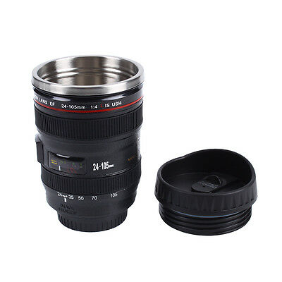 EF 24-105mm Caniam Camera Lens Thermos Stainless Travel Tea Mug Cup Black V