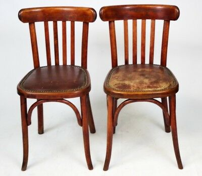A pair of French Art Deco Fischel Bent Wood Bistro Chairs [PL1982A]