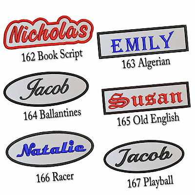 """Custom Embroidered Name Patch 4""""-5"""" Iron on Tag Rectangular Oval Freehand White"""