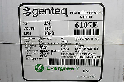 Genteq Evergreen Motor 6107E 3/4 HP 115V