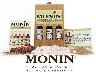 Monin Premium Coffee Syrups Luxury Gift Set - Caramel Amaretto Hazelnut
