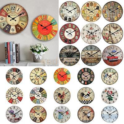RUSTIC Wall Clock Shabby Chic Home Kitchen Wooden CLOCKS 30cm Decor 24 Types