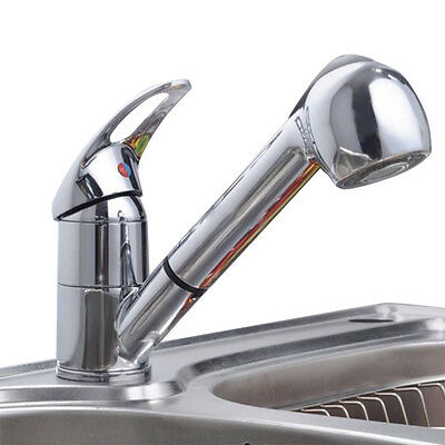 New Pull-Out Spray Faucet Chrome Single Lever Swivel Spout Kitchen Sink FaucetUB