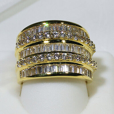 18K Yellow Gold Filled CZ Women Fashion Wedding Jewelry Band Ring R1125 Sz 5-10