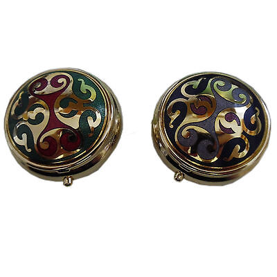 NEW Brass Enamel Pill Box Macintosh Style Collectable 2 Colours. Stocking Filler