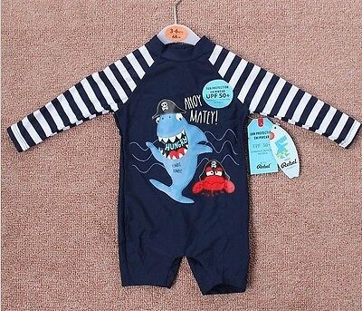 New Infant Baby Boys Swimwear One Piece Sunsuits Striped Swimwears 3-18Month