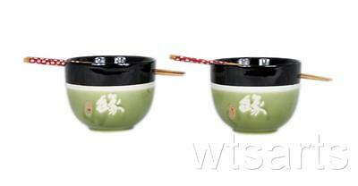 Destiny Pair Japanese Style Noodle Bowls Rice Bowl Chinese with Chopstick Set -B