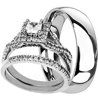His Hers 3 Piece STERLING SILVER & TITANIUM Matching Wedding Engagement Ring Set