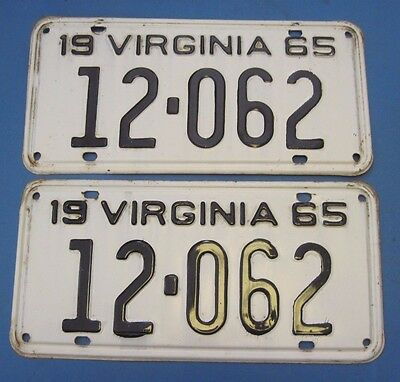 1965 Virginia License Plates Matched Pair nice original plates with low number