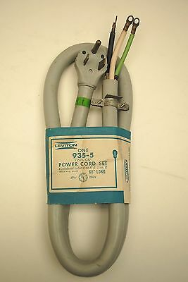 """Leviton 935-5 Power Cord, 50-Amp, 250-Volt, Male Plug 60"""" Long, Used For Welders"""