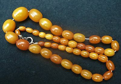 Natur Bernstein Kette 14,5g Butterscotch collier 44cm amber real necklace olive