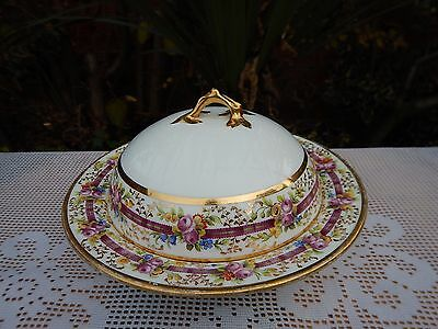 Antique Mintons for T.Good & Co hand painted floral Butter dish w/cover