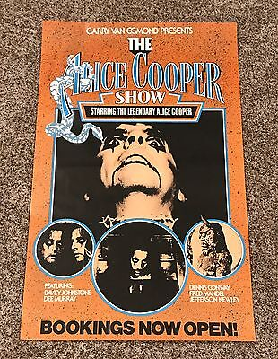 """Alice Cooper The Alice Cooper Show 1970s Bookings Now Open! Poster 34.5""""x21.5"""""""