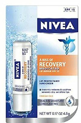 5 Pack - NIVEA A Kiss Of Recovery Medicated Lip Repair SPF 15 0.17 oz Each