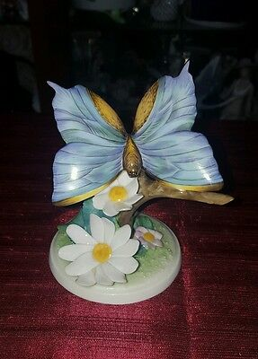 Herend Vintage Xl Blue Butterfly On  Flowers