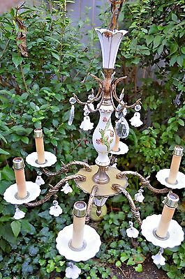 Vintage Spain 6 Lt. Chandelier Light Fixture Ceramic Porcelain Hand Paint Brass