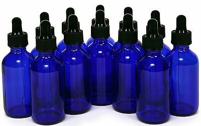 1 oz Cobalt Blue Glass Bottles with Glass Eye Dropper Pack of 12- New ! 30 ML