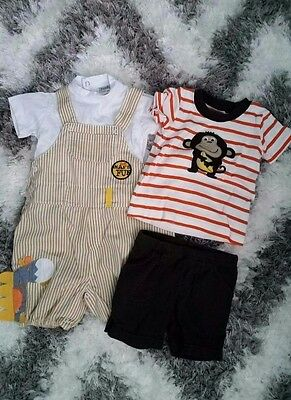Carter's & Funky Baby Boy 4 Pieces 9 Months Shirts Shorts & Overalls